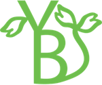 Het logo van Yolanda Bos, een versmolten ''Y'' en ''B'' met bladeren. Het blad symboliseert groei.